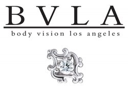 "BVLA 14kt & 18kt Gold ""Diamond Paloma Swirl"" Threaded End Dermal Top 18g 16g 14g 12g Body Vision Los Angeles"
