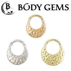 "Body Gems 14kt Gold ""Hammer"" Septum Clicker Hinge Ring 16 Gauge 16g"