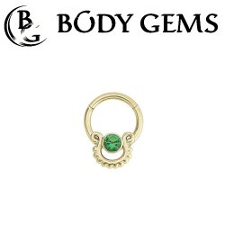 Body Gems 14kt Gold Clicker with 3mm Gem and Beaded Knocker Septum Daith Ring 16 Gauge 14 Gauge 16g 14g