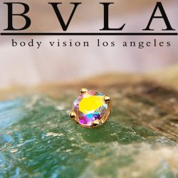 "BVLA 14kt & 18kt Gold ""4-Prong 4mm Gem"" Threaded End 18g 16g 14g 12g Body Vision Los Angeles"