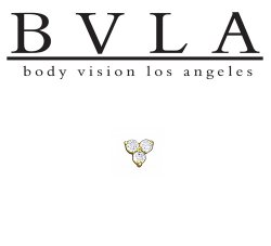 "BVLA 14kt & 18kt Gold ""Tri Prong Cluster 2.5mm Trinity"" with (3) 1mm Gems Threaded End 18g 16g 14g 12g"