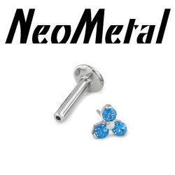"16 Gauge 16g NeoMetal Titanium Universal Threadless Flatback Labret Post with 3-Gem Trinity End ""Press-fit"""