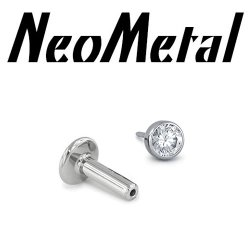 "14 Gauge 14g NeoMetal Titanium Universal Threadless Flatback Labret Post with Bezel-set Faceted Gem End ""Press-fit"""