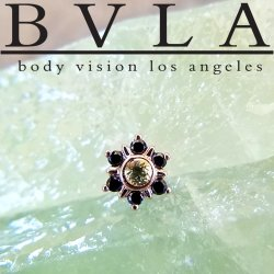"BVLA 14kt & 18kt Gold ""Mini Toltec"" Threaded End Dermal Top 18g 16g 14g 12g Body Vision Los Angeles"