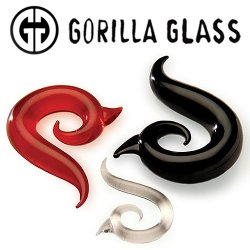 "Gorilla Glass Borneo Spiral 4 Gauge to 1"" Glass Ear Weight (Pair)"