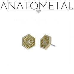"Anatometal 18kt Gold ""Bee"" Hexagon Threadless End 25g Pin (will fit 18g, 16g, 14g Universal Threadless Posts) Press-fit"