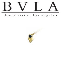 BVLA 14kt Gold 2.0mm Bezel with 3 Beads Nostril Screw Nose Bone Ring Stud Nail 20g 18g 16g Body Vision Los Angeles