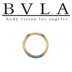 "BVLA 14kt Gold ""Blaze 7"" with 1mm Gems Nose Nostril Septum Daith Seam Ring 18 Gauge 16 Gauge 18g 16g Body Vision Los Angeles"