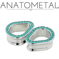 "Anatometal Surgical Steel Teardrop Multi Gem Eyelet Tunnel 1/2"" - 2"""