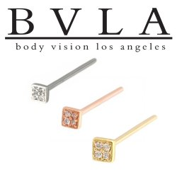BVLA 14kt Gold Micro Pave Square Nostril Screw Nose Bone Ring Stud Nail 20g 18g 16g Body Vision Los Angeles