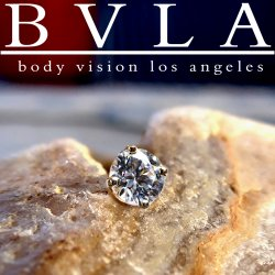 "BVLA 14kt & 18kt Gold ""4-Prong-set Flawless Diamond"" 1.5mm 1.75mm 2mm 2.25mm 2.5mm 3mm Threadless End 18g 16g 14g Body Vision Los Angeles ""Press-fit"""