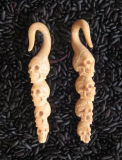 Antique Walrus Tusk Stacked Four Skulls 6g 4mm - One of a Kind