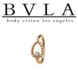 "BVLA 14kt & 18kt Gold ""Sophie Tear 1.25mm Gem"" Navel Ring 16 Gauge 16g Body Vision Los Angeles"