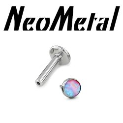 "16 Gauge 16g NeoMetal Titanium Universal Threadless Flatback Labret Post with Bezel-set Cabochon Gem End ""Press-fit"""