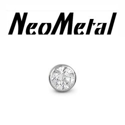 "16 Gauge 16g NeoMetal Threadless Titanium 2.5mm Bezel-Set Genuine Diamond End ""Press-fit"""