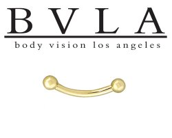 BVLA 14kt Gold Curved Barbell 16g Threaded Balls Ends Body Vision Los Angeles