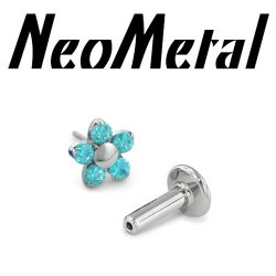 "14 Gauge 14g NeoMetal Titanium Universal Threadless Flatback Labret Post with 5-Gem Flower End ""Press-fit"""