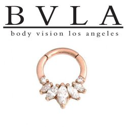 "BVLA 14kt Gold ""Tesseract"" Nose Nostril Septum Ring 16 Gauge 16g Body Vision Los Angeles"