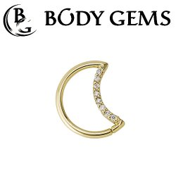 Body Gems 14kt Gold LunEar Daith Ring with 1mm Gems 16 Gauge 14 Gauge 16g 14g