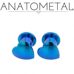 Anatometal Titanium Solid Heart Plugs Removable Disk 10g 8g 6g 4g 2g 0g 00g