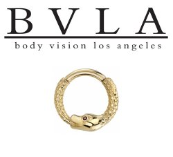 "BVLA 14kt & 18kt Gold ""Boston Python"" Septum Daith Clicker Hinged Ring 14 Gauge 14g Body Vision Los Angeles"
