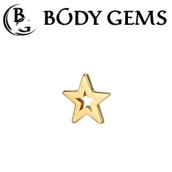 "Body Gems 14kt Gold ""Open Star"" Threaded End Dermal Top 18 Gauge 16 Gauge 14 Gauge 12 Gauge 18g 16g 14g 12g"