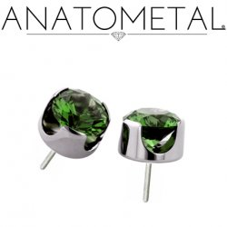 "Anatometal Titanium Threadless 5mm Prong-Set Faceted Gem End 18 Gauge 18g ""Press-fit"""