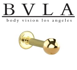 "BVLA 14kt & 18kt ""Complete Labret with 3/16"" Ball"" 12g Body Vision Los Angeles"