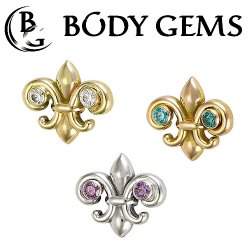 "Body Gems 14kt Gold 2 Gem ""Fleur De Lis"" Threadless End 25g Pin (will fit 18g, 16g, 14g Universal Threadless Posts) ""Press-fit"""