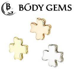 "Body Gems 14kt Gold ""Clover"" Threaded End Dermal Top 18 Gauge 16 Gauge 14 Gauge 12 Gauge 18g 16g 14g 12g"