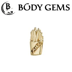 "Body Gems 14kt Gold ""Fries"" Threaded End Dermal Top 18 Gauge 16 Gauge 14 Gauge 12 Gauge 18g 16g 14g 12g"