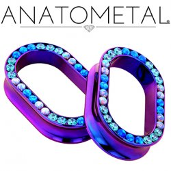"Anatometal Titanium Oval Multi Gem Eyelet Tunnel 1"" - 2"""