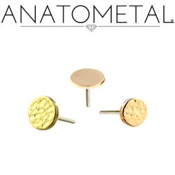 "Anatometal 18Kt Gold Threadless Disk End 3mm 4mm 3/16"" 18g 16g 14g (25g Pin Universal) Threadless Posts Press-fit"