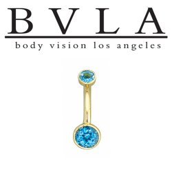 "BVLA 14kt Gold Navel Curved Barbell with ""Classic Bezels"" 3mm Top Gem 5mm Fixed Bottom Gem 14 gauge 14g Body Vision Los Angeles"