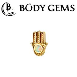 "Body Gems 14kt Gold Hamsa Threadless End 25g Pin (will fit 18g, 16g, 14g Universal Threadless Posts) ""Press-fit"""