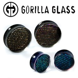 "Gorilla Glass Double Flare Iridescent Ear Plugs 0 Gauge to 2"" (Pair)"