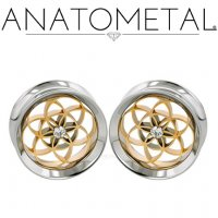 "Anatometal Stainless Steel Double Flare Eyelet Tunnel 18Kt Gold Seed Of Life with Gem Insert 5/8"" to 1"""