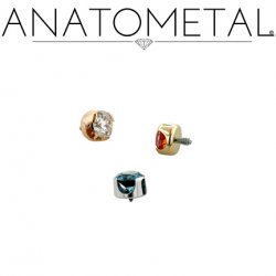 Anatometal 18kt Gold Threaded 1.5mm Prong-set Gem End 18g 16g