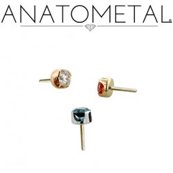 Anatometal Titanium Threadless 1.5mm Prong-set Faceted Gem End 18g 16g 14g (25g Pin Universal) Threadless Posts Press-fit