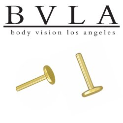 BVLA 14kt Gold Threadless Fixed Flat Back Labret Stud 16 gauge 16g (25g Pin) Body Vision Los Angeles