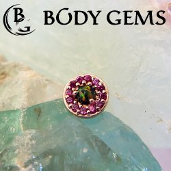 "Body Gems 14kt Gold ""Halo"" Threadless End 25g Pin (will fit 18g, 16g, 14g Universal Threadless Posts) ""Press-fit"""