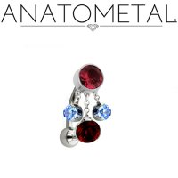 Anatometal Titanium Navel Curve Belly Ring 6mm Fixed Top Bezel Two 4mm Prong Dangles One 6mm Prong Dangle 14 Gauge 12 Gauge 14g 12g