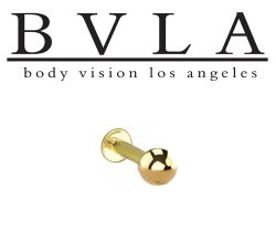 "BVLA 14kt & 18kt ""Complete Labret with 5/32"" Ball"" 14g Body Vision Los Angeles"