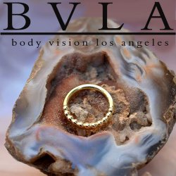"BVLA 14kt & 18kt Gold ""Oaktier"" Nose Nostril Septum Clicker Daith Seam Hinged Ring 16 Gauge 16g Body Vision Los Angeles"