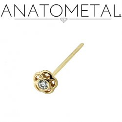 Anatometal 18kt Gold Tama Nostril Screw Nose Ring 2mm Gem 20 Gauge 18 Gauge 20g 18g
