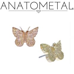 "Anatometal 18Kt Gold ""Butterfly"" Threadless End 25g Pin (will fit 18g, 16g, 14g Universal Threadless Posts) Press-fit"