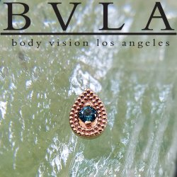"BVLA 14kt Gold ""Double Pear Harlequin"" 7mm Threadless End 18g 16g 14g ""Press-fit"""