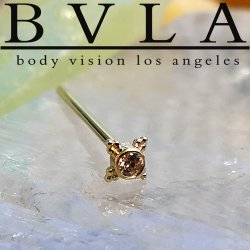 "BVLA 14kt & 18kt Gold ""Mini Kandy"" Nostril Screw Nose Bone Ring Stud Nail 20g 18g 16g Body Vision Los Angeles"