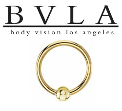 "BVLA 14kt & 18kt Gold ""Captive Bead Closure Ring Or Fixed Bead Ring 1"" "" 14g Body Vision Los Angeles"