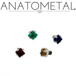 Anatometal Titanium Threaded Prong-set 2mm Princess Cut Gem End 18 Gauge 16 Gauge 14 Gauge 12 Gauge 18g 16g 14g 12g
